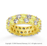 5 1/2 Carat Yellow Sapphire and Diamond 14k Yellow Gold Eternity Band