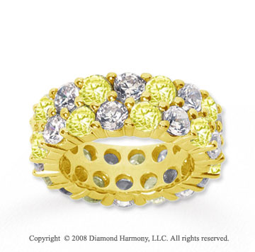 8 1/2 Carat Yellow Sapphire and Diamond 14k Yellow Gold Eternity Band