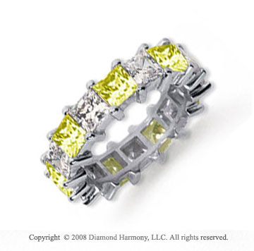 6 1/2 Carat Yellow Sapphire and Diamond Platinum Eternity Band