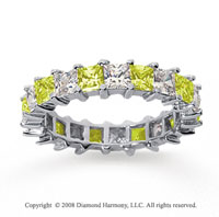 3 1/2 Carat Yellow Sapphire and Diamond 14k White Gold Eternity Band