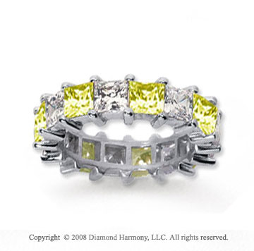 6 1/2 Carat Yellow Sapphire and Diamond 14k White Gold Eternity Band