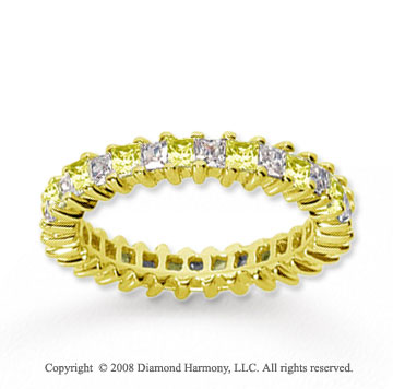 2 Carat Yellow Sapphire and Diamond 14k Yellow Gold Eternity Band
