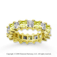 4 3/4 Carat Yellow Sapphire and Diamond 14k Yellow Gold Eternity Band