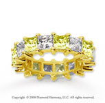 6 1/2 Carat Yellow Sapphire and Diamond 14k Yellow Gold Eternity Band