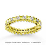 1 1/2 Carat Yellow Sapphire and Diamond 18k Y Gold Eternity Band