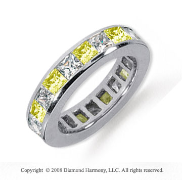 3 Carat Yellow Sapphire and Diamond Platinum Eternity Band