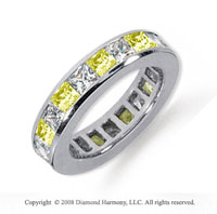 4 Carat Yellow Sapphire and Diamond Platinum Eternity Band