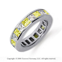 4 3/4 Carat Yellow Sapphire and Diamond Platinum Eternity Band
