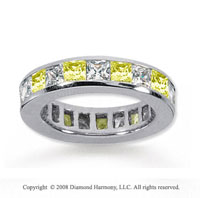 4 Carat Yellow Sapphire and Diamond 14k White Gold Eternity Band