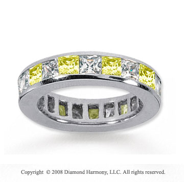 3 1/2 Carat Yellow Sapphire and Diamond 18k W Gold Eternity Band