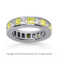 4 3/4 Carat Yellow Sapphire and Diamond 18k W Gold Eternity Band
