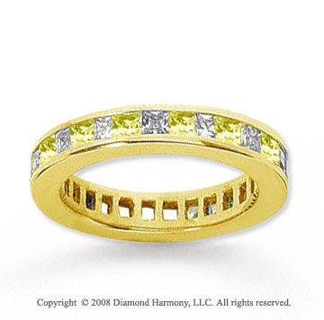 1 Carat Yellow Sapphire and Diamond 18k Y Gold Eternity Band