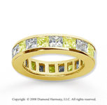 2 Carat Yellow Sapphire and Diamond 18k Y Gold Eternity Band
