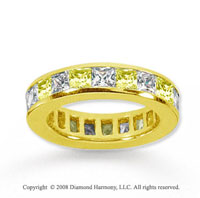 3 Carat Yellow Sapphire and Diamond 18k Y Gold Eternity Band