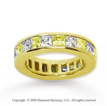 4 3/4 Carat Yellow Sapphire and Diamond 18k Y Gold Eternity Band