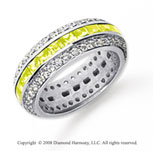 2 1/2 Carat Yellow Sapphire and Diamond Platinum Eternity Band