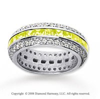 2 1/2 Carat Yellow Sapphire and Diamond 14k White Gold Eternity Band