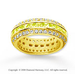 2 1/2 Carat Yellow Sapphire and Diamond 18k Y Gold Eternity Band