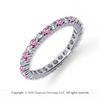 3/4 Carat Pink Sapphire and Diamond Platinum Eternity Band