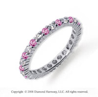 1 Carat Pink Sapphire and Diamond Platinum Eternity Band