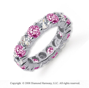 5 Carat Pink Sapphire and Diamond Platinum Eternity Band