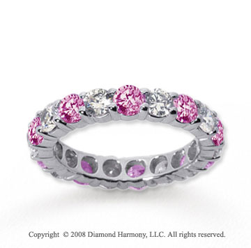 1/2 Carat Pink Sapphire and Diamond 14k White Gold Eternity Band