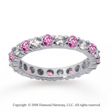2 Carat Pink Sapphire and Diamond 14k White Gold Eternity Band