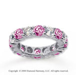 5 Carat Pink Sapphire and Diamond 14k White Gold Eternity Band