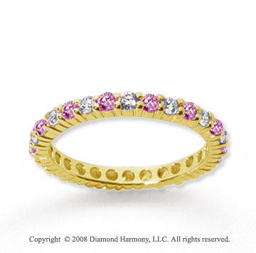 1 Carat Pink Sapphire and Diamond 14k Yellow Gold Eternity Band