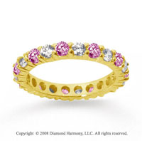 1 1/2 Carat Pink Sapphire and Diamond 14k Yellow Gold Eternity Band