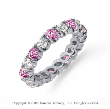 2 Carat Pink Sapphire and Diamond Platinum Eternity Band