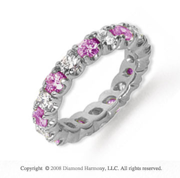 2 1/2 Carat Pink Sapphire and Diamond Platinum Eternity Band