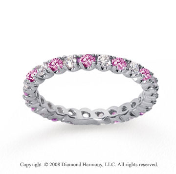 3/4 Carat Pink Sapphire and Diamond 18k W Gold Eternity Band