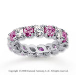 4 1/2 Carat Pink Sapphire and Diamond 18k W Gold Eternity Band