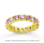2 1/2 Carat Pink Sapphire and Diamond 14k Yellow Gold Eternity Band