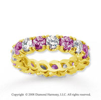 3 1/2 Carat Pink Sapphire and Diamond 14k Yellow Gold Eternity Band