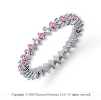 3/5 Carat Pink Sapphire and Diamond Platinum Eternity Band