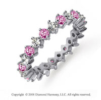 1 1/2 Carat Pink Sapphire and Diamond Platinum Eternity Band