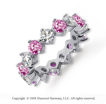 4 Carat Pink Sapphire and Diamond Platinum Eternity Band