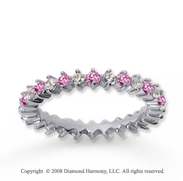 1 Carat Pink Sapphire and Diamond 14k White Gold Eternity Band