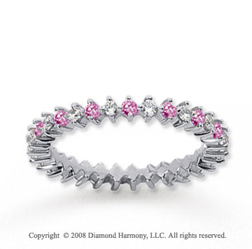 3/5 Carat Pink Sapphire and Diamond 18k W Gold Eternity Band