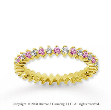 3/5 Carat Pink Sapphire and Diamond 14k Yellow Gold Eternity Band