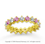 2 Carat Pink Sapphire and Diamond 14k Yellow Gold Eternity Band