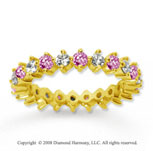 1 1/2 Carat Pink Sapphire and Diamond 18k Y Gold Eternity Band