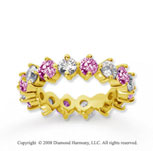 3 1/2 Carat Pink Sapphire and Diamond 18k Y Gold Eternity Band
