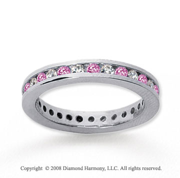 3/4 Carat Pink Sapphire and Diamond 14k White Gold Eternity Band