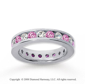 1 1/2 Carat Pink Sapphire and Diamond 14k White Gold Eternity Band