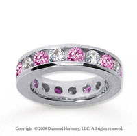 3 1/2 Carat Pink Sapphire and Diamond 18k W Gold Eternity Band
