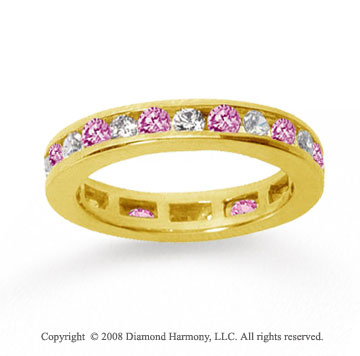 1/2 Carat Pink Sapphire and Diamond 18k Y Gold Eternity Band