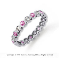 1/2 Carat Pink Sapphire and Diamond Platinum Eternity Band